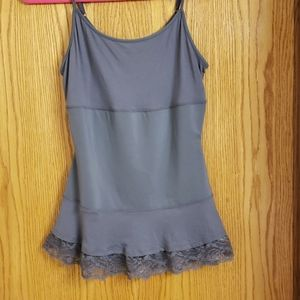 LOGO fitted tank with lace trim